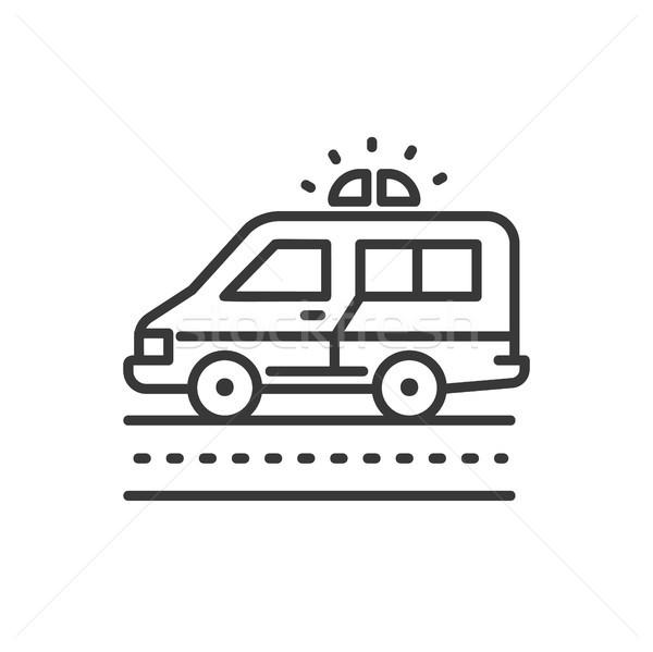 Ambulance ligne design isolé icône blanche Photo stock © Decorwithme