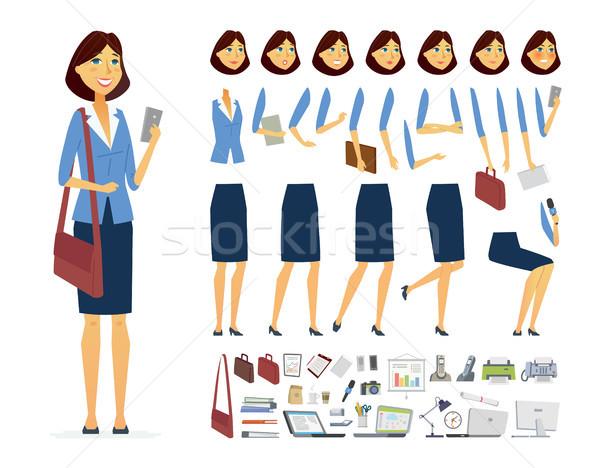 üzletasszony vektor rajzolt emberek karakter izolált fehér Stock fotó © Decorwithme