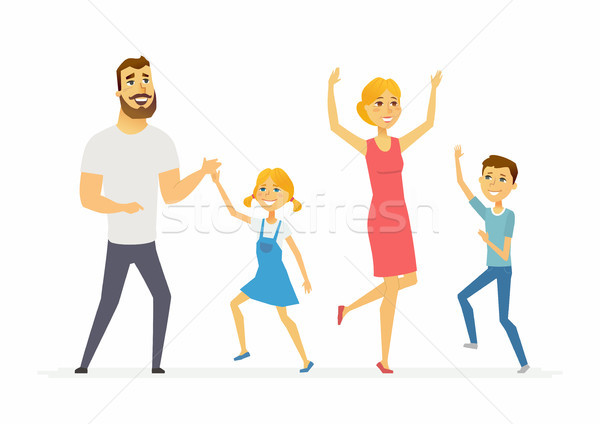 Happy family dancing - modern cartoon people characters illustration Stock photo © Decorwithme