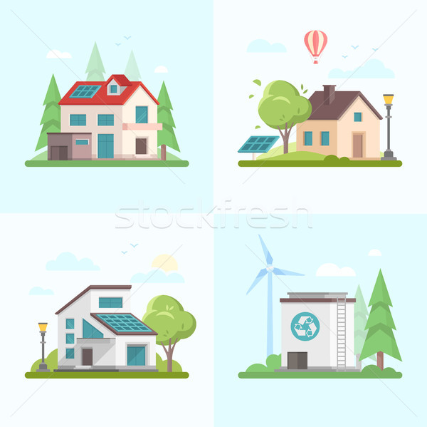 Eco-friendly complex - set of modern flat design style vector illustrations Stock photo © Decorwithme