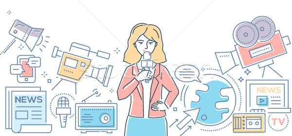 Mass media today - modern line design style illustration Stock photo © Decorwithme