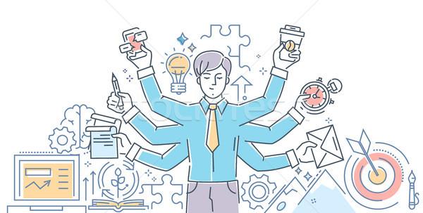 Creative process - modern line design style illustration Stock photo © Decorwithme