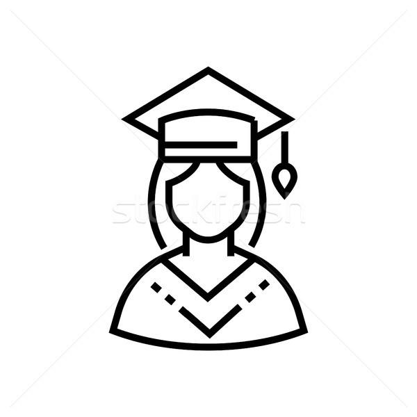 Female student - line design single isolated icon Stock photo © Decorwithme