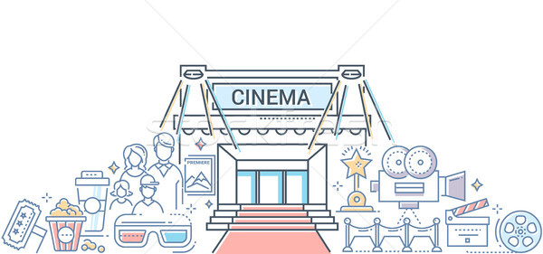 Film festival - modern line design style illustration Stock photo © Decorwithme