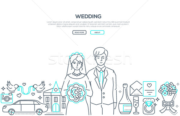 Wedding - line design style banner with place for text Stock photo © Decorwithme