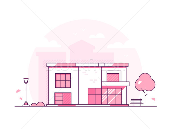 Lovely cottage - modern thin line design style vector illustration Stock photo © Decorwithme