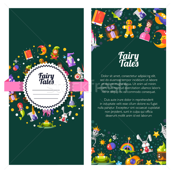 Flyer template of modern fairy tales flat design magic icons and Stock photo © Decorwithme