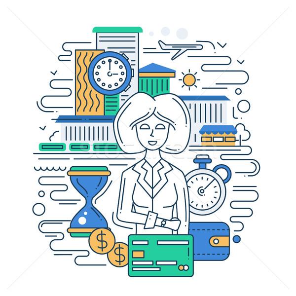 Tijd is geld lijn ontwerp banner zakenvrouw illustratie Stockfoto © Decorwithme
