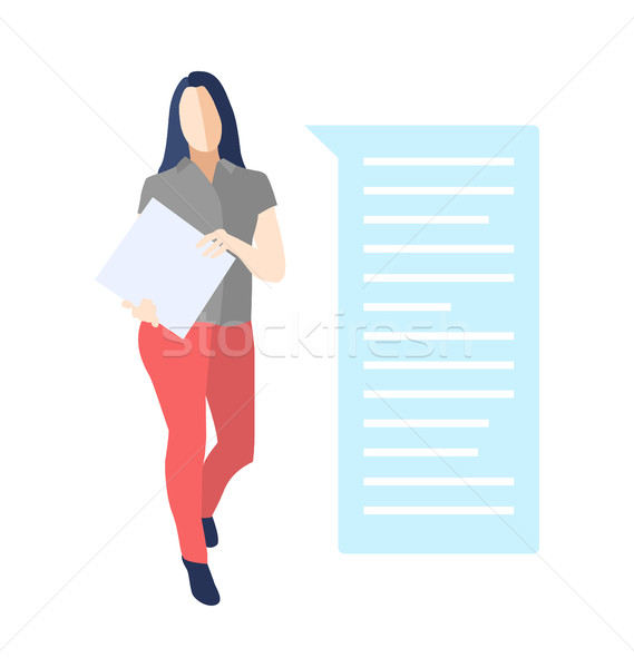 Female standing with a folder, bubble speech Stock photo © Decorwithme