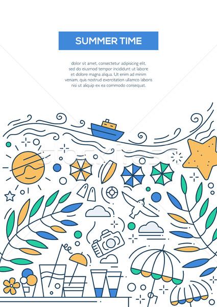 Verão tempo linha projeto folheto cartaz Foto stock © Decorwithme