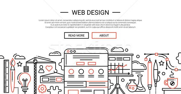 Foto stock: Diseno · web · línea · sitio · web · banner · ilustración · vector