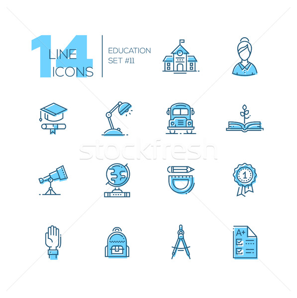 School and Education - line icons set Stock photo © Decorwithme