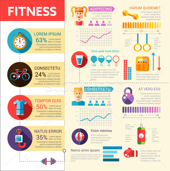 Fitness - vector flat design illustrative template with infographic elements Stock photo © Decorwithme