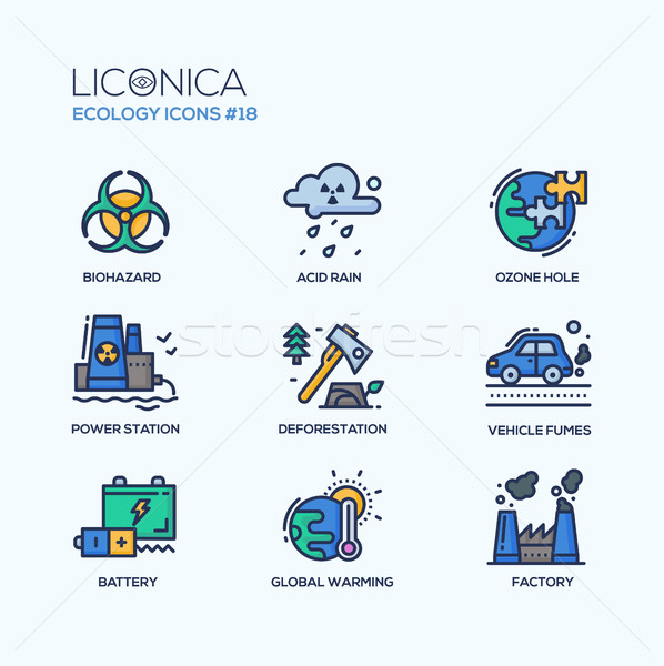 Ecology - coloured modern single line icons set Stock photo © Decorwithme