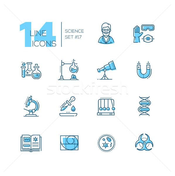 Science - coloured modern single line icons set Stock photo © Decorwithme