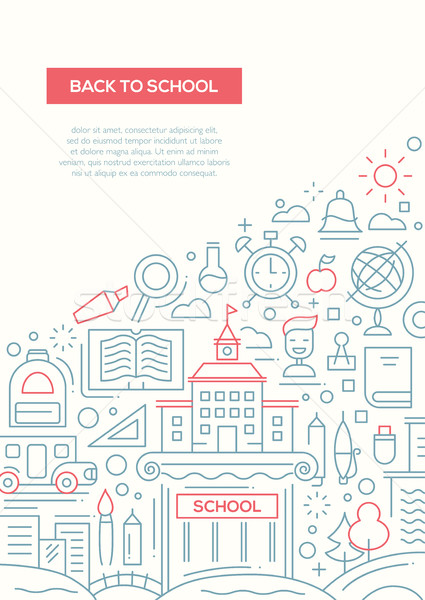 Back to School - line design brochure poster template A4 Stock photo © Decorwithme