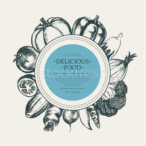 Vegetables - hand drawn round banner. Stock photo © Decorwithme