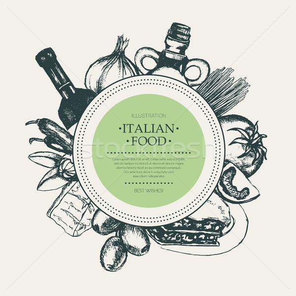 Italian Food - hand drawn round banner. Stock photo © Decorwithme