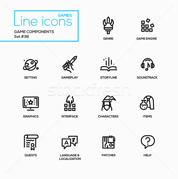 MMOG - modern vector single line icons set Stock photo © Decorwithme