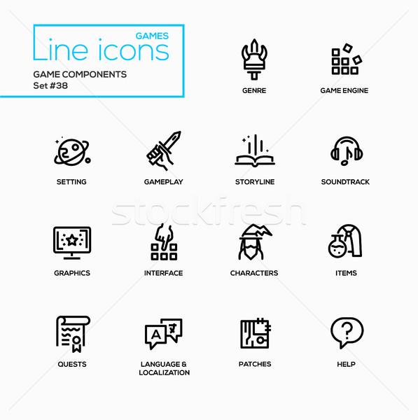 MMOG - modern vector single line icons set Stock photo © Decorwithme
