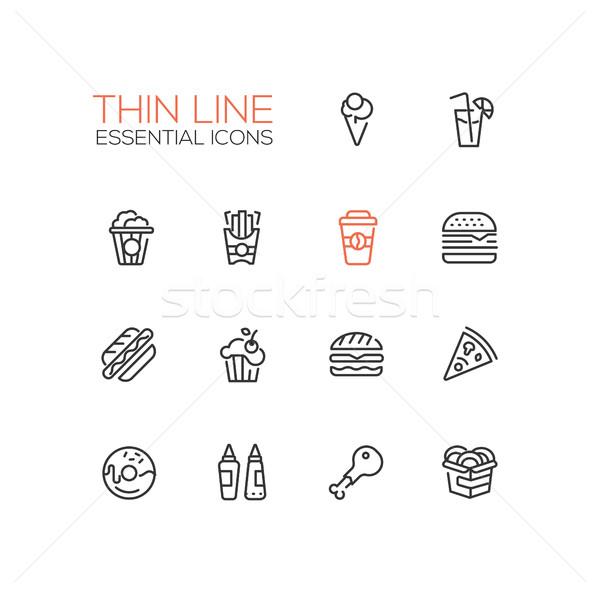 Fast Food Cafe Menu Icons Set Stock photo © Decorwithme