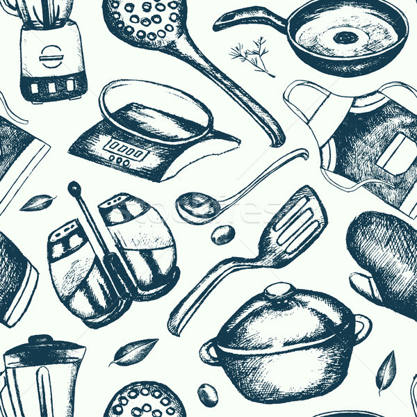 Kitchen Ware - hand drawn seamless pattern Stock photo © Decorwithme