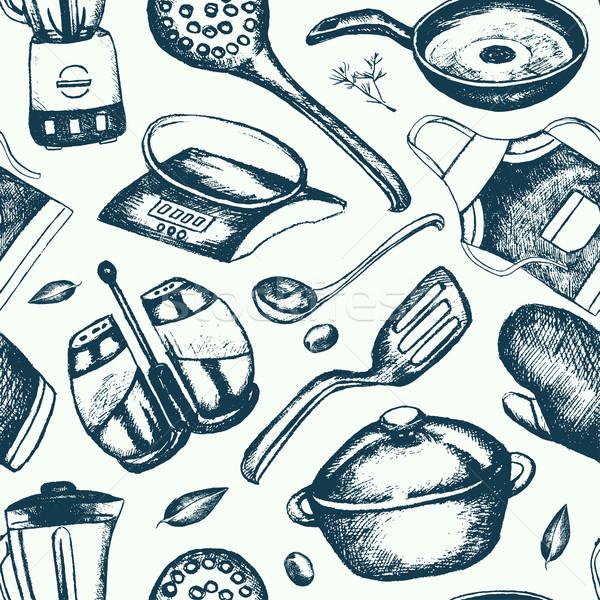 Kitchen Ware - hand drawn seamless pattern Stock photo © Decorwithme