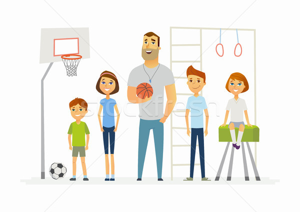 Physical education lesson at school - modern cartoon people characters illustration Stock photo © Decorwithme