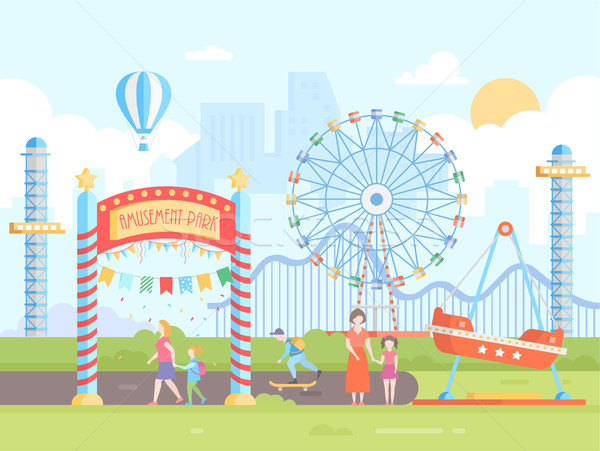 Stock photo: Amusement park - modern flat design style vector illustration