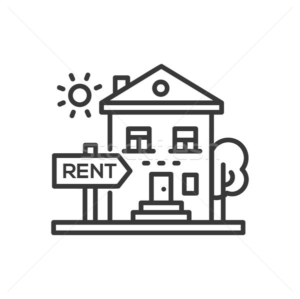 House for rent - line design single isolated icon Stock photo © Decorwithme
