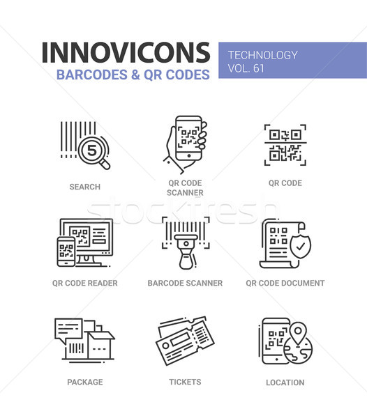 Barcodes and QR codes - line design icons set Stock photo © Decorwithme