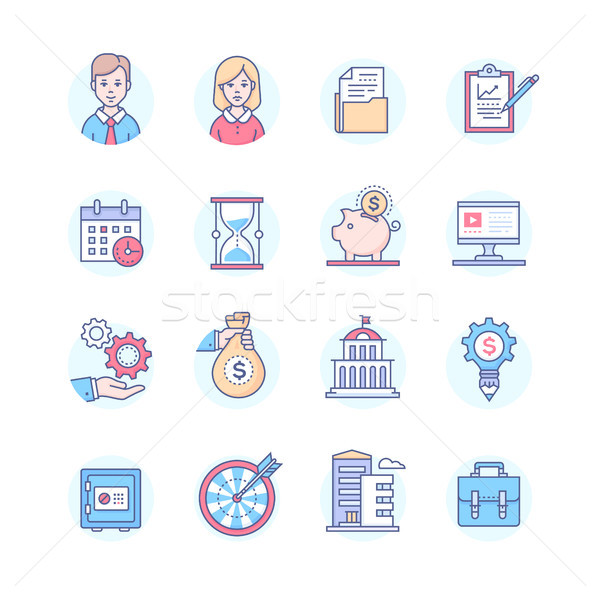 Business - set of line design style icons Stock photo © Decorwithme