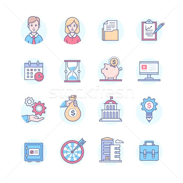 бизнеса набор линия дизайна стиль иконки Сток-фото © Decorwithme