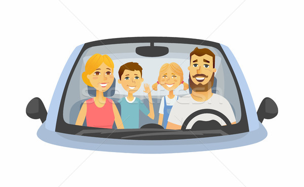 Family trip - cartoon people character isolated illustration Stock photo © Decorwithme