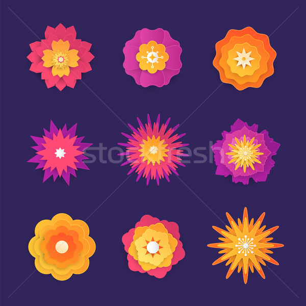 Stock photo: Paper cut flowers - set of modern vector colorful objects