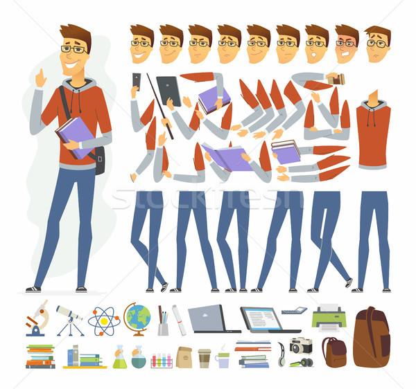Modern diák vektor rajzolt emberek karakter izolált Stock fotó © Decorwithme