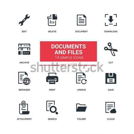 Iratok akták modern vonal terv ikon szett Stock fotó © Decorwithme