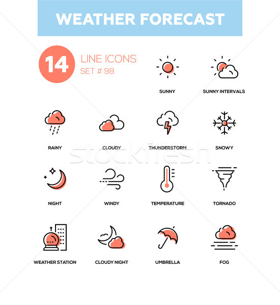 Weather forecast - modern line design icons set Stock photo © Decorwithme