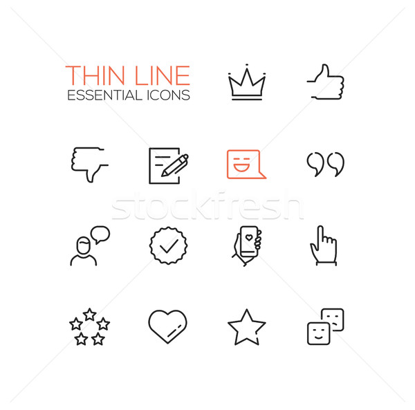 Social Network Signs - Thin Line Icons Set Stock photo © Decorwithme