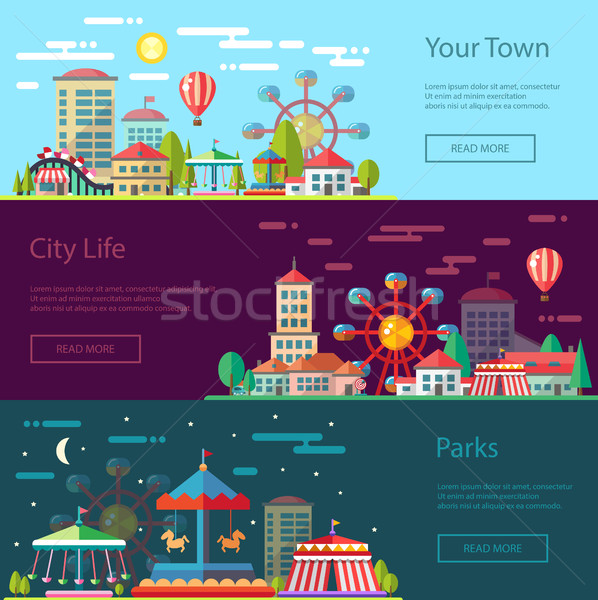 Modern flat design conceptual city illustration with carousels Stock photo © Decorwithme