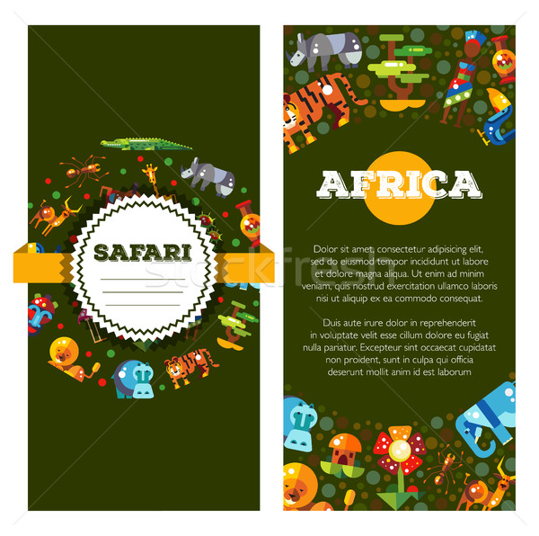 Stock photo: Postcard of flat design african icons and infographics elements