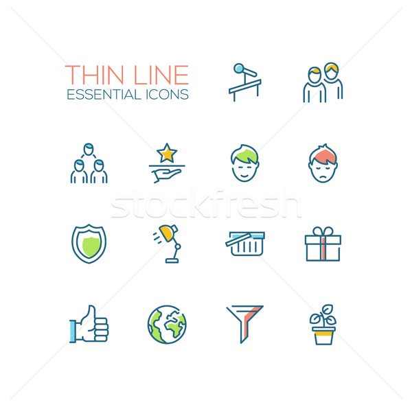 Business - Thin Single Line Icons Set Stock photo © Decorwithme