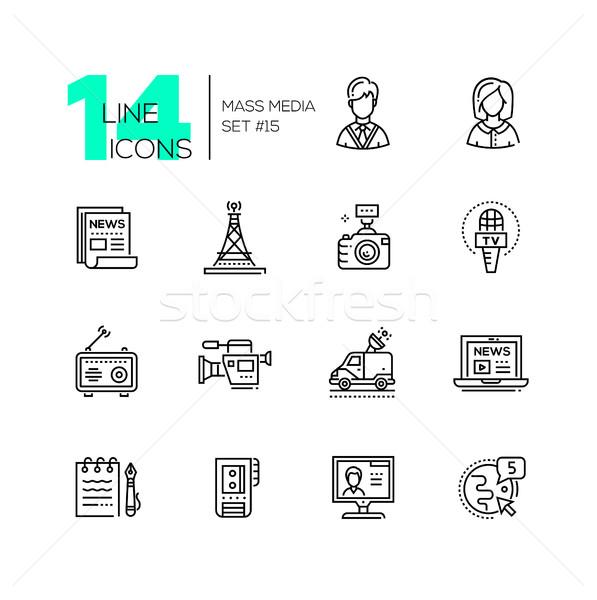 Mass media - modern single line icons set Stock photo © Decorwithme