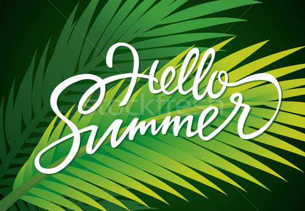 Hello Summer - vector leaflet template with brush lettering Stock photo © Decorwithme