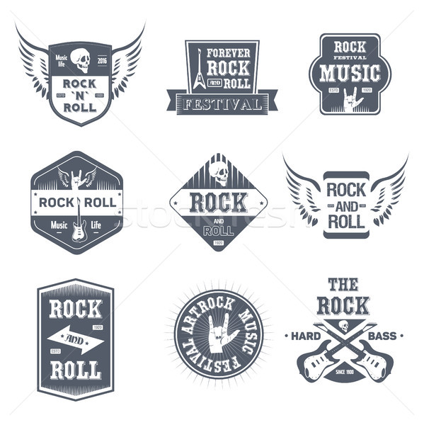 Rock Music - vintage vector set of logos Stock photo © Decorwithme