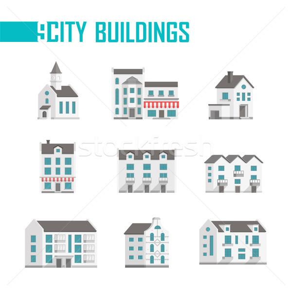 Negen stad gebouwen ingesteld iconen witte Stockfoto © Decorwithme