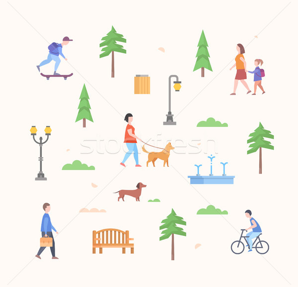 City park constructor - set of modern flat design style elements Stock photo © Decorwithme