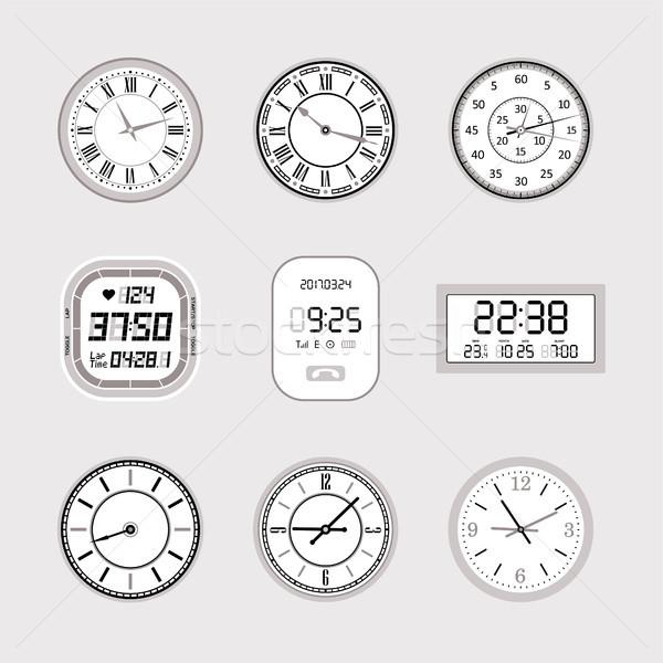 Klokken ingesteld moderne vector geïsoleerde objecten grijs Stockfoto © Decorwithme