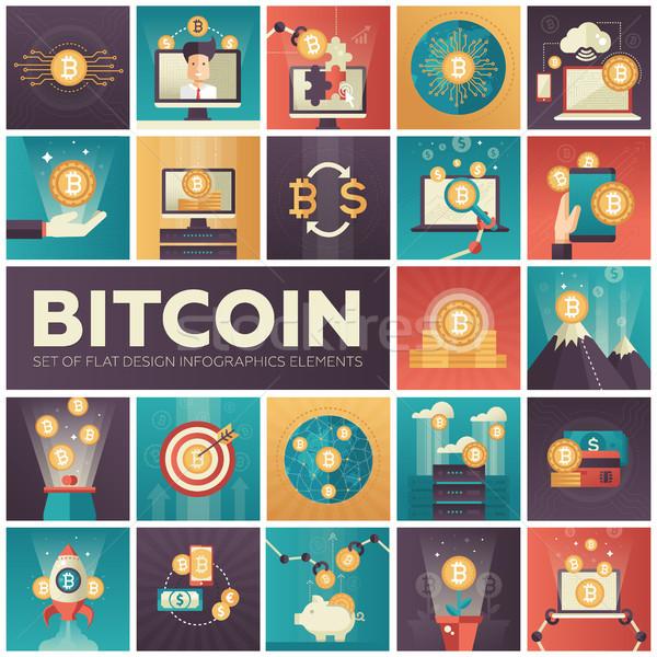 Bitcoin conjunto colorido projeto infográficos elementos Foto stock © Decorwithme