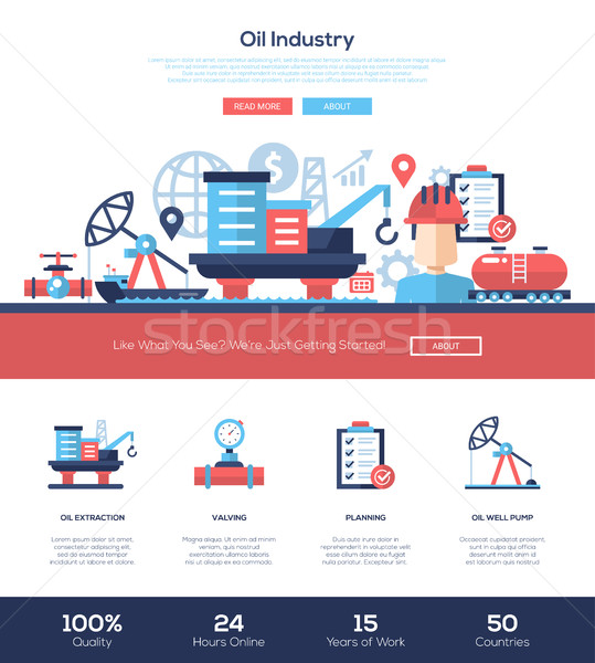 Oil and gas industry website header banner with webdesign elements Stock photo © Decorwithme
